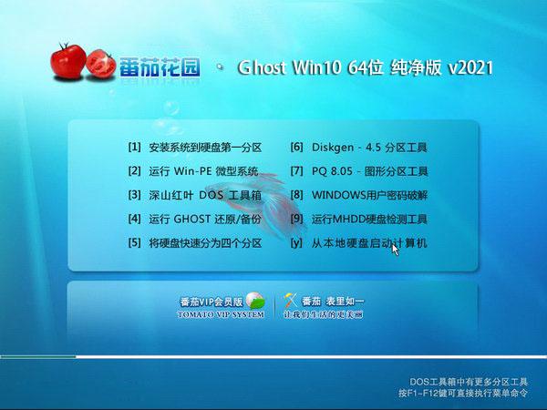 番茄花园 Ghost Win10 64位 纯净版 v2021.02